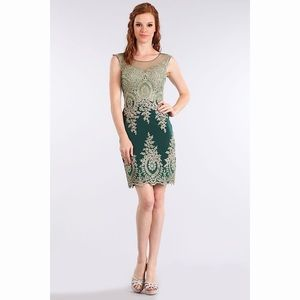 Forest Green & Gold Dress 1573